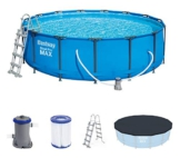 Bestway Steel Pro Max 457x122 cm, stabiler Frame Pool rund im Komplett Set, inklusive Filterpumpe, Sicherheitsleiter und PVC-Abdeckplane - 1