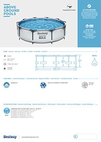 Bestway Steel Pro MAX Aufstellpool ohne Pumpe Ø 305 x 76 cm, grau, rund - 7