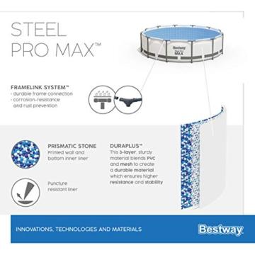 Bestway Steel Pro MAX Aufstellpool ohne Pumpe Ø 305 x 76 cm, grau, rund - 9