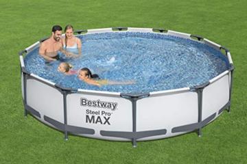 Bestway Steel Pro MAX Aufstellpool-Set mit Filterpumpe Ø 366 x 76 cm, grau, rund - 10