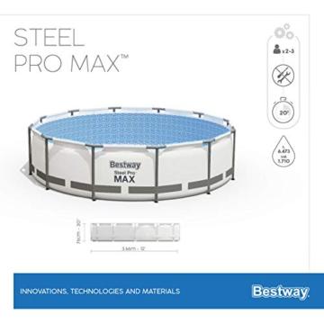 Bestway Steel Pro MAX Aufstellpool-Set mit Filterpumpe Ø 366 x 76 cm, grau, rund - 12