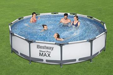 Bestway Steel Pro MAX Aufstellpool-Set mit Filterpumpe Ø 366 x 76 cm, grau, rund - 2