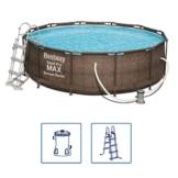 Bestway Steel Pro Max Frame Pool Komplettset Deluxe, rund, Rattan-Optik, 366 x 100 cm - 1