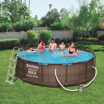Bestway Steel Pro Max Frame Pool Komplettset Deluxe, rund, Rattan-Optik, 366 x 100 cm - 3