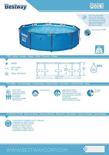 Bestway Steel Pro MAX, Frame Pool rund mit stabilem Stahlrahmen, 305x305x76 cm - 8