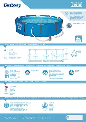 Bestway Steel Pro MAX, Frame Pool rund mit Stahlrahmen und Filterpumpe, 305x305x76 cm - 2