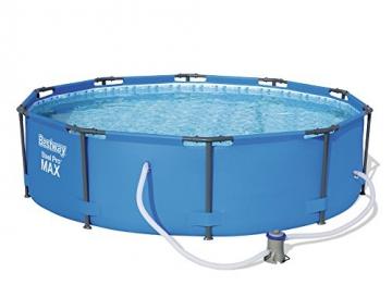 Bestway Steel Pro MAX, Frame Pool rund mit Stahlrahmen und Filterpumpe, 305x305x76 cm - 1