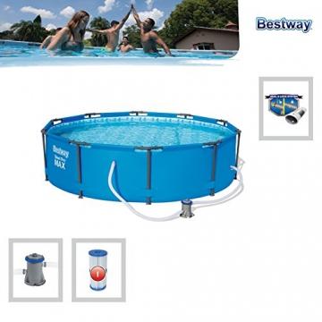 Bestway Steel Pro MAX, Frame Pool rund mit Stahlrahmen und Filterpumpe, 305x305x76 cm - 5