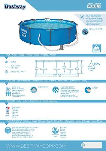 Bestway Steel Pro MAX, Frame Pool rund mit Stahlrahmen und Filterpumpe, 305x305x76 cm - 8