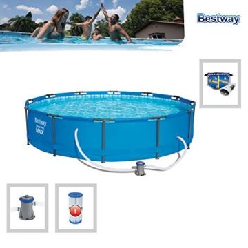 Bestway Steel Pro MAX Frame Pool, rund mit Stahlrahmen und Filterpumpe, 366 x 76 cm - 3