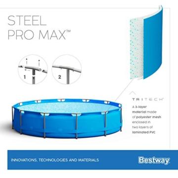 Bestway Steel Pro Max Pool Set 366x76 cm, Frame Pool rund im Set, inklusive Filterpumpe und Getränkehaltern - 11