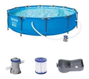 Bestway Steel Pro Max Pool Set 366x76 cm, Frame Pool rund im Set, inklusive Filterpumpe und Getränkehaltern - 1