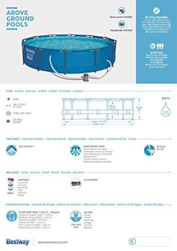 Bestway Steel Pro Max Pool Set 366x76 cm, Frame Pool rund im Set, inklusive Filterpumpe und Getränkehaltern - 9