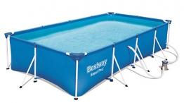 Bestway Steel Pro rechteckiger Kinderpool, mit Stahlrahmen und Filterpumpe, 400 x 211 x 81 cm - 1