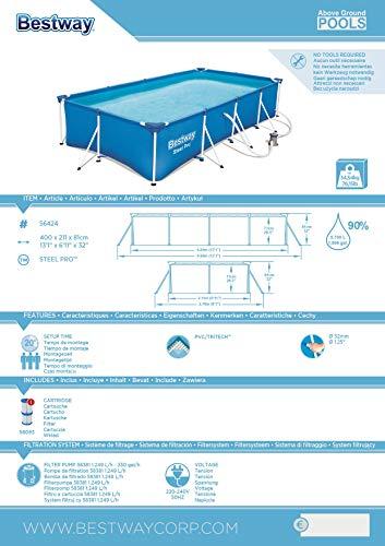 Bestway Steel Pro rechteckiger Kinderpool, mit Stahlrahmen und Filterpumpe, 400 x 211 x 81 cm - 7