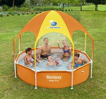 Bestway Steel Pro UV Careful, runder Kinderpool mit Sonnenschutzdach, 244x244x51cm - 3
