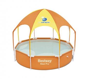 Bestway Steel Pro UV Careful, runder Kinderpool mit Sonnenschutzdach, 244x244x51cm - 1