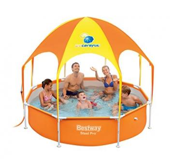 Bestway Steel Pro UV Careful, runder Kinderpool mit Sonnenschutzdach, 244x244x51cm - 5