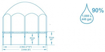 Bestway Steel Pro UV Careful, runder Kinderpool mit Sonnenschutzdach, 244x244x51cm - 7