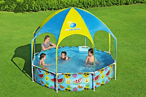 Bestway Steel Pro UV Careful Stahlrahmenpool ohne Pumpe mit Sonnenschutzdach Splash-in-Shade 244 x 51 cm Pool, multi - 12