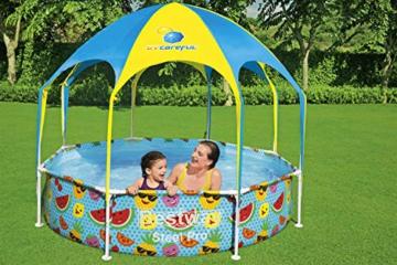 Bestway Steel Pro UV Careful Stahlrahmenpool ohne Pumpe mit Sonnenschutzdach Splash-in-Shade 244 x 51 cm Pool, multi - 13