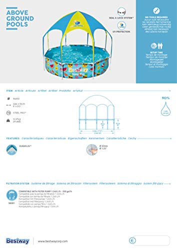 Bestway Steel Pro UV Careful Stahlrahmenpool ohne Pumpe mit Sonnenschutzdach Splash-in-Shade 244 x 51 cm Pool, multi - 15