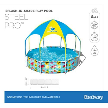 Bestway Steel Pro UV Careful Stahlrahmenpool ohne Pumpe mit Sonnenschutzdach Splash-in-Shade 244 x 51 cm Pool, multi - 16