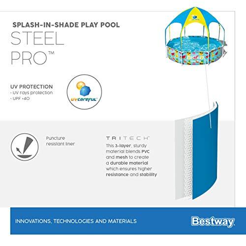 Bestway Steel Pro UV Careful Stahlrahmenpool ohne Pumpe mit Sonnenschutzdach Splash-in-Shade 244 x 51 cm Pool, multi - 17
