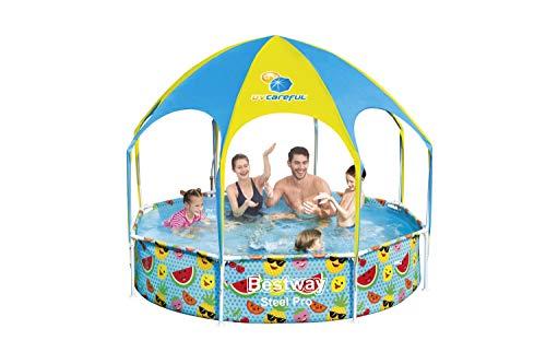 Bestway Steel Pro UV Careful Stahlrahmenpool ohne Pumpe mit Sonnenschutzdach Splash-in-Shade 244 x 51 cm Pool, multi - 4