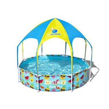 Bestway Steel Pro UV Careful Stahlrahmenpool ohne Pumpe mit Sonnenschutzdach Splash-in-Shade 244 x 51 cm Pool, multi - 1