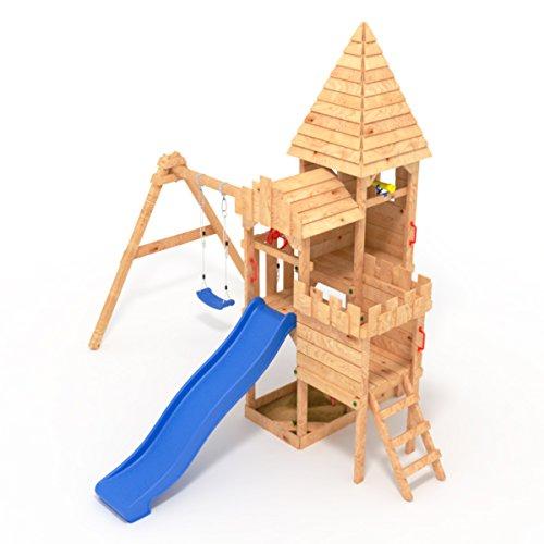 """BIBEX """"Ritterburg-L120 Spielturm, Klettergerüst, Rutsche, Doppelte Schaukel, Kletterwand und Sandkasten mit 3X Podesthöhen (Blau) - 2"""