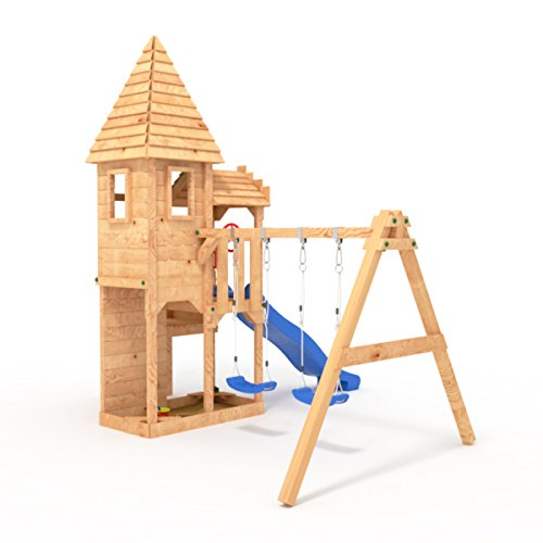 """BIBEX """"Ritterburg-L120 Spielturm, Klettergerüst, Rutsche, Doppelte Schaukel, Kletterwand und Sandkasten mit 3X Podesthöhen (Blau) - 3"""