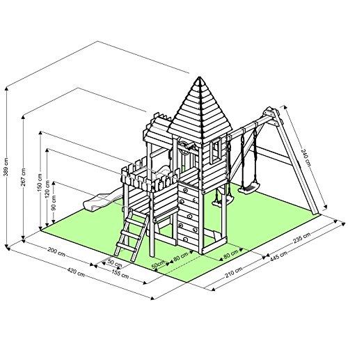"""BIBEX """"Ritterburg-L120 Spielturm, Klettergerüst, Rutsche, Doppelte Schaukel, Kletterwand und Sandkasten mit 3X Podesthöhen (Blau) - 5"""