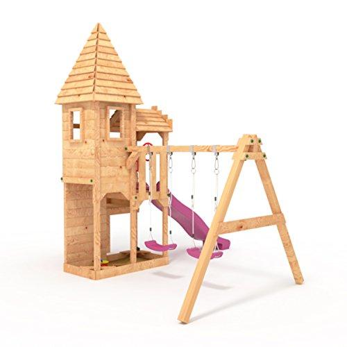 """BIBEX """"Ritterburg-L120 Spielturm, Klettergerüst, Rutsche, Doppelte Schaukel, Kletterwand und Sandkasten mit 3X Podesthöhen (Violett) - 3"""