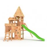 """BIBEX """"Ritterburg-L150 Spielturm, Klettergerüst, Lange Rutsche, Doppelte Schaukel, Kletterwand und Sandkasten mit 3X Podesthöhen (Grün) - 1"""