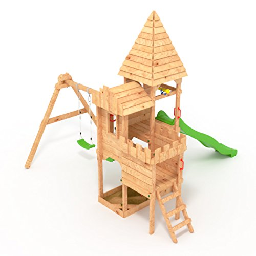 """BIBEX """"Ritterburg-L150 Spielturm, Klettergerüst, Lange Rutsche, Doppelte Schaukel, Kletterwand und Sandkasten mit 3X Podesthöhen (Grün) - 3"""