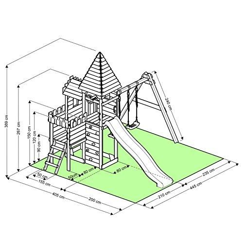 """BIBEX """"Ritterburg-L150 Spielturm, Klettergerüst, Lange Rutsche, Doppelte Schaukel, Kletterwand und Sandkasten mit 3X Podesthöhen (Grün) - 5"""