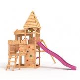 """BIBEX """"Ritterburg-L150 Spielturm, Klettergerüst, Lange Rutsche, Doppelte Schaukel, Kletterwand und Sandkasten mit 3X Podesthöhen (Violett) - 1"""