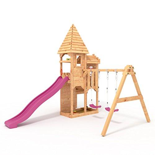 """BIBEX """"Ritterburg-L150 Spielturm, Klettergerüst, Lange Rutsche, Doppelte Schaukel, Kletterwand und Sandkasten mit 3X Podesthöhen (Violett) - 2"""