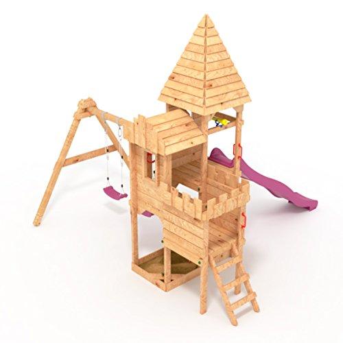 """BIBEX """"Ritterburg-L150 Spielturm, Klettergerüst, Lange Rutsche, Doppelte Schaukel, Kletterwand und Sandkasten mit 3X Podesthöhen (Violett) - 3"""