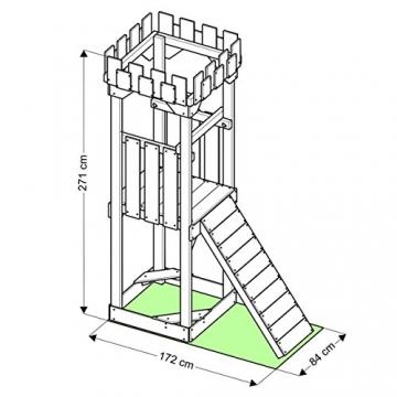 BIBEX Spielturm - Kletterturm - Ritterburg S mit Rutsche, Schaukel, Kletterseil, Klettersteinen (Lila) - 4