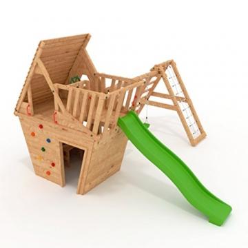 BIBEX Spielturm - Wunderhäuschen-M150 + Lange Rutsche, 2xSchaukel, Knotennetz, Klettersteine, Möbel Rote Rutsche/Schaukel (Grün) - 2