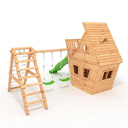BIBEX Spielturm - Wunderhäuschen-M150 + Lange Rutsche, 2xSchaukel, Knotennetz, Klettersteine, Möbel Rote Rutsche/Schaukel (Grün) - 3