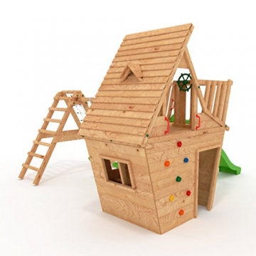 BIBEX Spielturm - Wunderhäuschen-M150 + Lange Rutsche, 2xSchaukel, Knotennetz, Klettersteine, Möbel Rote Rutsche/Schaukel (Grün) - 4