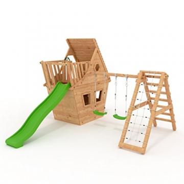 BIBEX Spielturm - Wunderhäuschen-M150 + Lange Rutsche, 2xSchaukel, Knotennetz, Klettersteine, Möbel Rote Rutsche/Schaukel (Grün) - 1