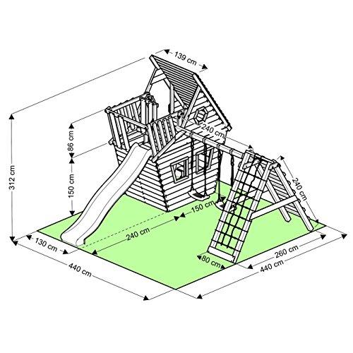 BIBEX Spielturm - Wunderhäuschen-M150 + Lange Rutsche, 2xSchaukel, Knotennetz, Klettersteine, Möbel Rote Rutsche/Schaukel (Grün) - 5