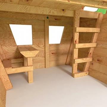 BIBEX® Spielturm - Wunderhäuschen + Rutsche, 2xSchaukel, Knotennetz, Klettersteine, Möbel Rote Rutsche/Schaukel - 5