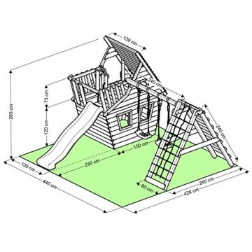 BIBEX® Spielturm - Wunderhäuschen + Rutsche, 2xSchaukel, Knotennetz, Klettersteine, Möbel Rote Rutsche/Schaukel - 6