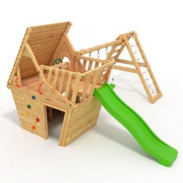 BIBEX® Spielturm - Wunderhäuschen + Rutsche, 2xSchaukel, Knotennetz, Klettersteine, Möbel Grüne Rutsche/Schaukel - 1