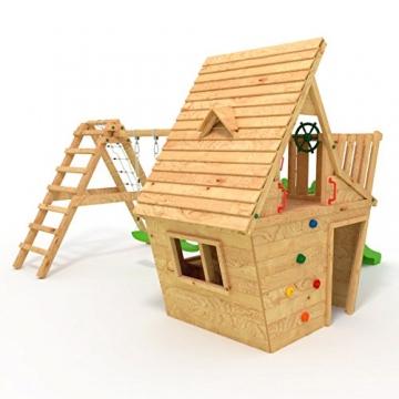 BIBEX® Spielturm - Wunderhäuschen + Rutsche, 2xSchaukel, Knotennetz, Klettersteine, Möbel Grüne Rutsche/Schaukel - 2